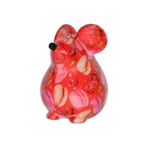 Spaarpot muis 17 cm rood met fruit