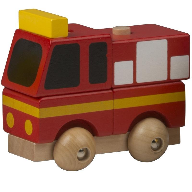Speelgoed brandweer auto hout 9 cm
