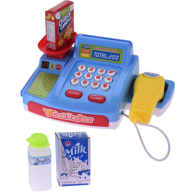 Speelgoed kassa blauw met boodschappen voor kinderen