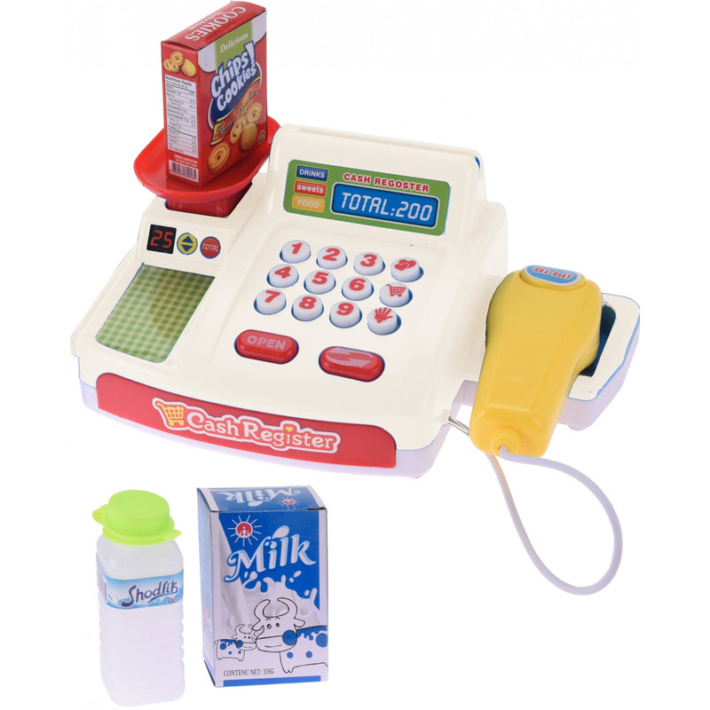 Speelgoed kassa wit met boodschappen voor kinderen