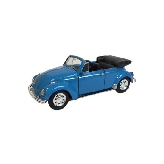 Speelgoed Volkswagen Kever blauwe cabrio auto 12 cm