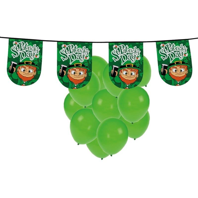 St. Patricks Day versiering met ballonnen en slinger