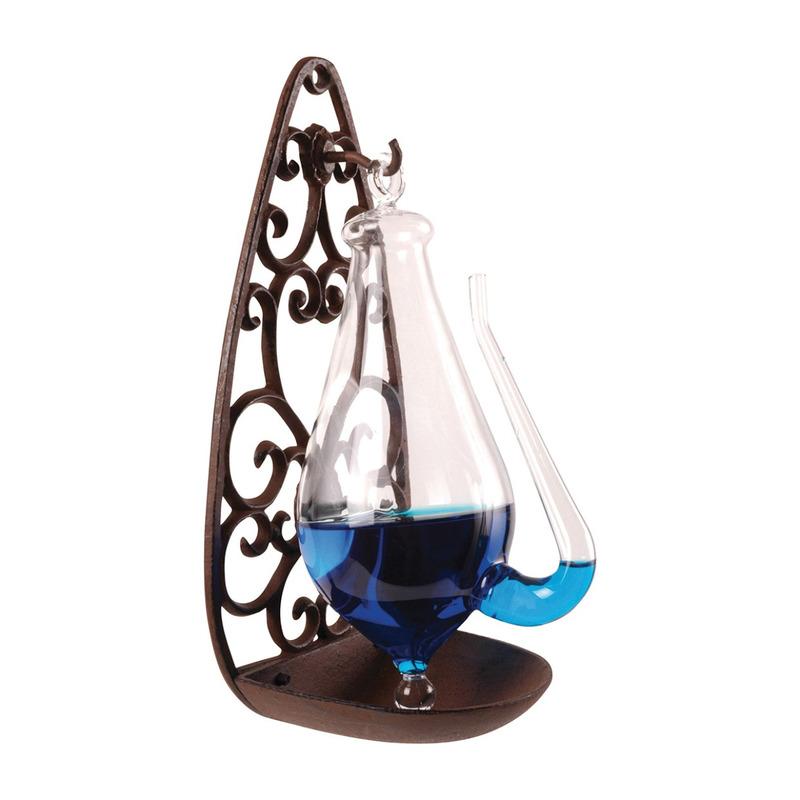 Stormglas met antieke gietijzeren houder 28 cm