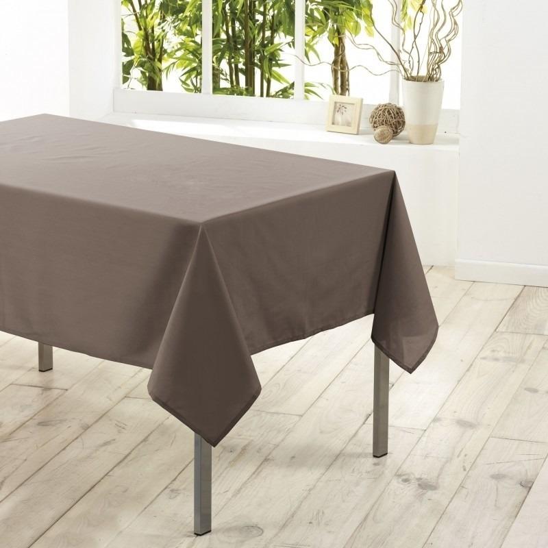 Tafelkleed-tafellaken taupe 140 x 250 cm textiel-stof