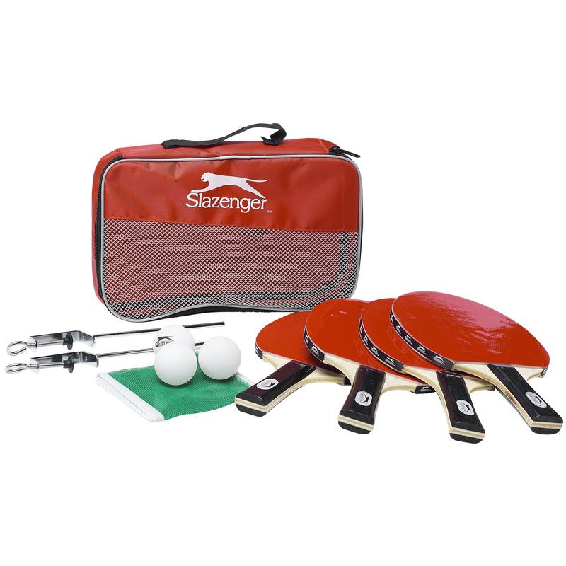Tafeltennis-Ping Pong set met 4 batjes-4 ballen-1 net in tas