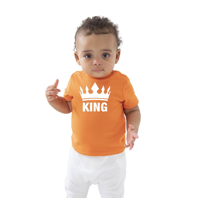 The king met kroon Koningsdag t-shirt oranje baby-peuter voor jongens