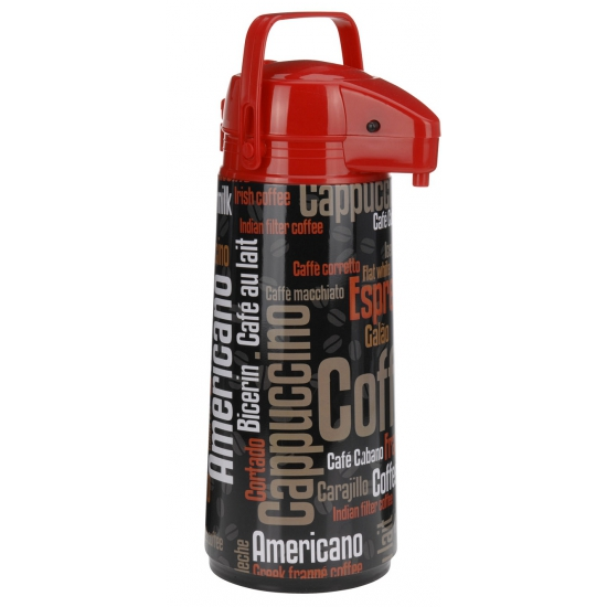 Thermoskan met dispenser zwart/rood. thermoskan met print van diverse soorten koffienamen. inhoud: 1900 ml....