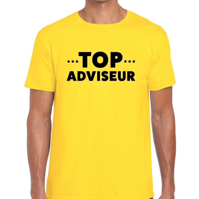 Top adviseur beurs-evenementen t-shirt geel heren