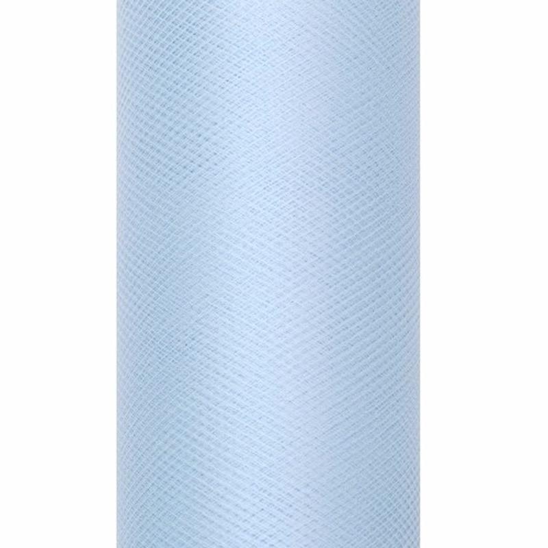 Tule stof lichtblauw 15 cm breed