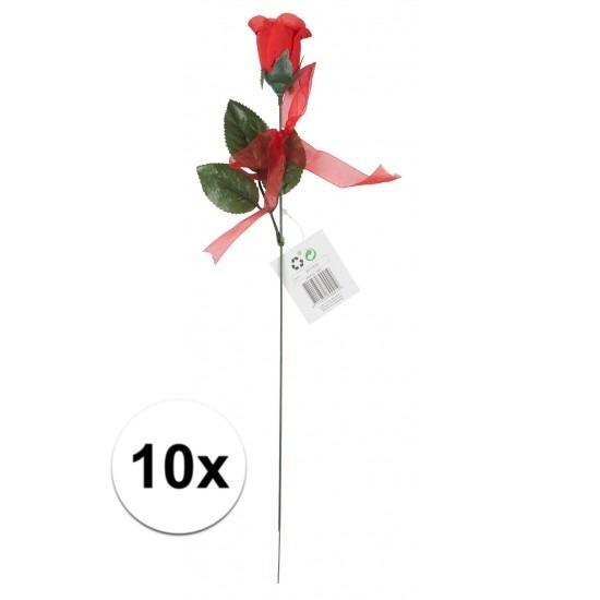 Voordelige rode rozen 10 stuks kunstbloemen 45 cm