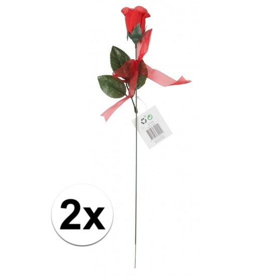 Voordelige rode rozen 2 stuks kunstbloemen 45 cm