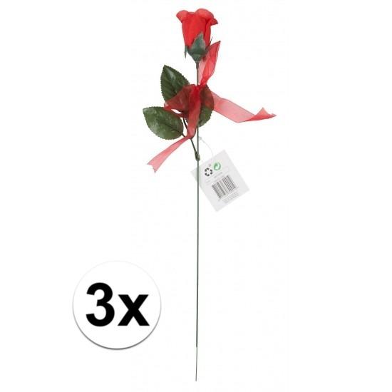 Voordelige rode rozen 3 stuks kunstbloemen 45 cm