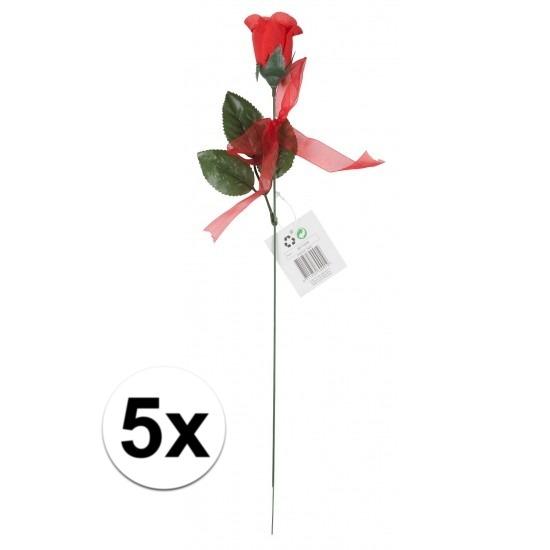 Voordelige rode rozen 5 stuks kunstbloemen 45 cm