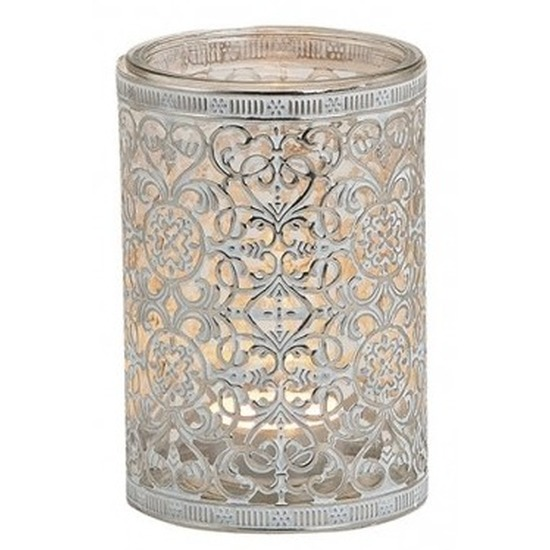 Waxinelicht-theelicht houder zilver antiek 12 cm