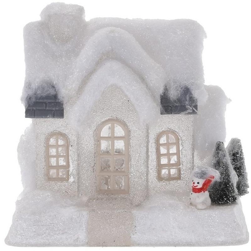 Wit kerstdorp huisje 20 cm type 1 met LED verlichting