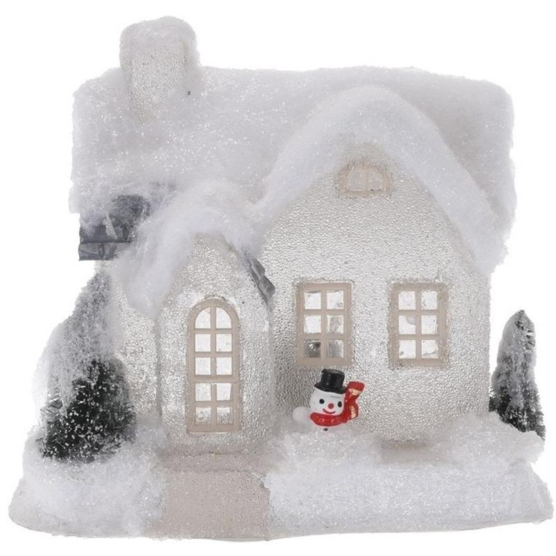 Wit kerstdorp huisje 20 cm type 3 met LED verlichting