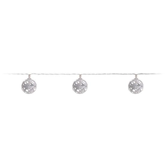 Witte kerstverlichting LED ballen aan snoer 17 cm