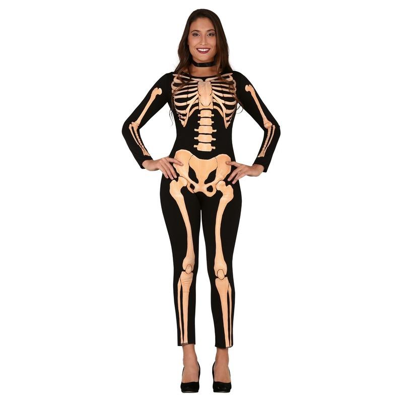 Zwart-oranje skelet verkleed kostuum voor dames