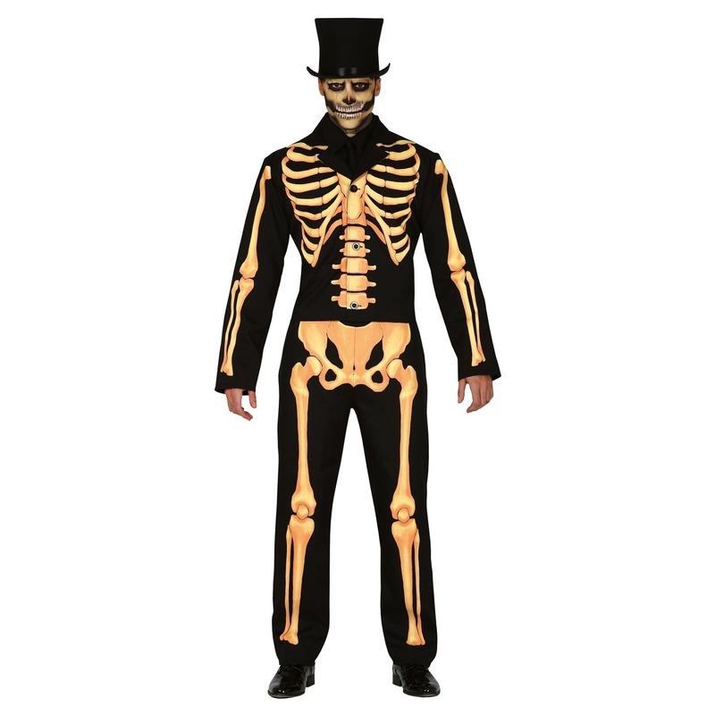 Zwart-oranje skelet verkleed kostuum voor heren