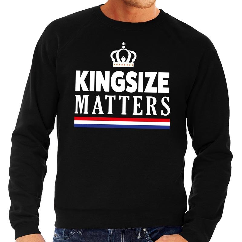 Zwarte Kingsize matters sweater voor heren