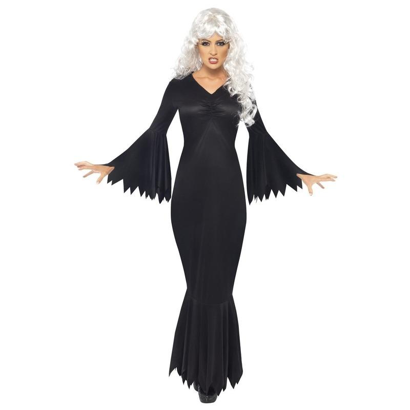 Zwarte lange heksen jurk verkleed kostuum voor dames
