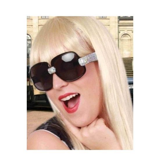 Zwarte zonnebril-feestbril met zilveren glitters voor dames