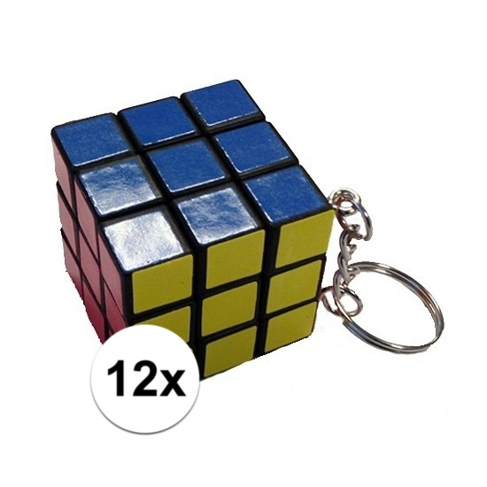12x stuks sleutelhangers met kubus spelletjes