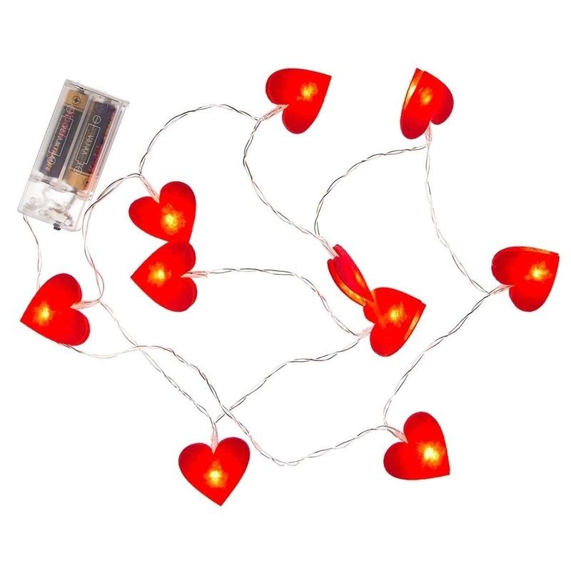 2x Rode hartjes lichtsnoer 120 cm