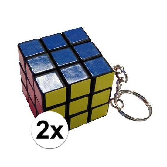 2x stuks sleutelhangers met kubus spelletjes