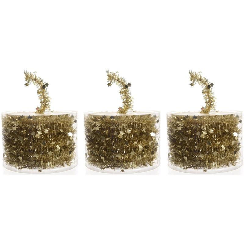 3x Kerstboom sterren folie slingers goud 700 cm