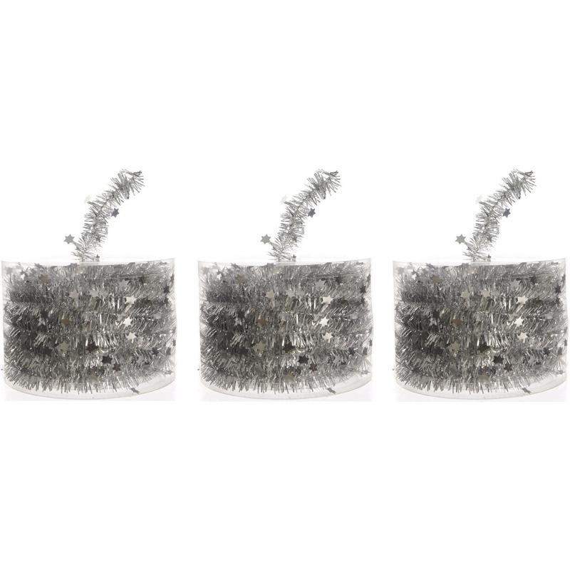 3x Kerstboom sterren folie slingers zilver 700 cm