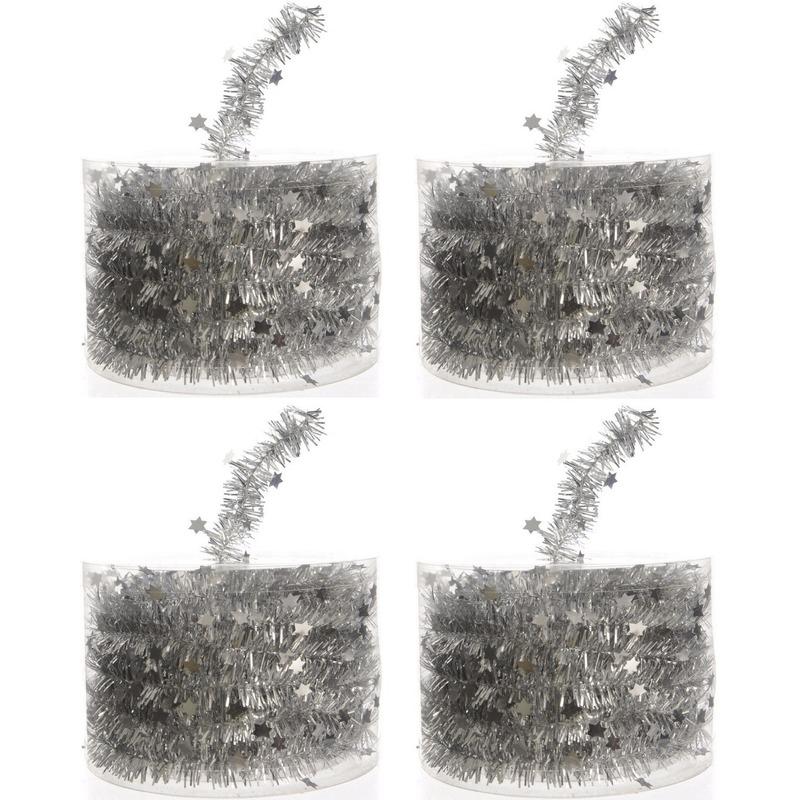 4x Kerstboom sterren folie slingers zilver 700 cm