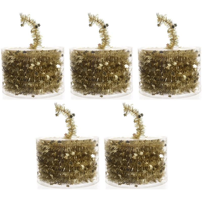 5x Kerstboom sterren folie slingers goud 700 cm