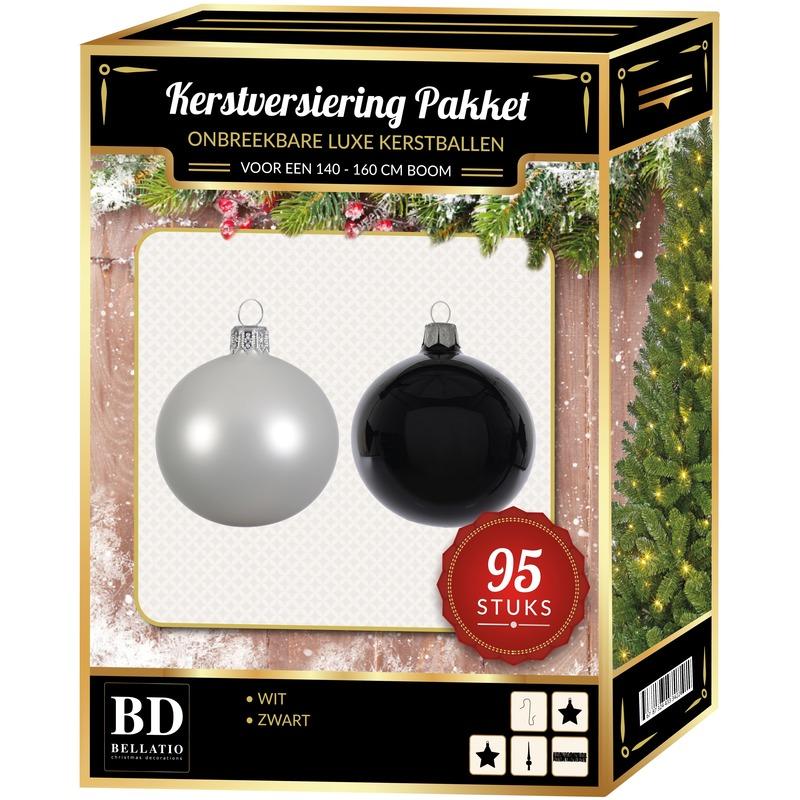 95 stuks Kerstballen mix wit-zwart voor 150 cm boom