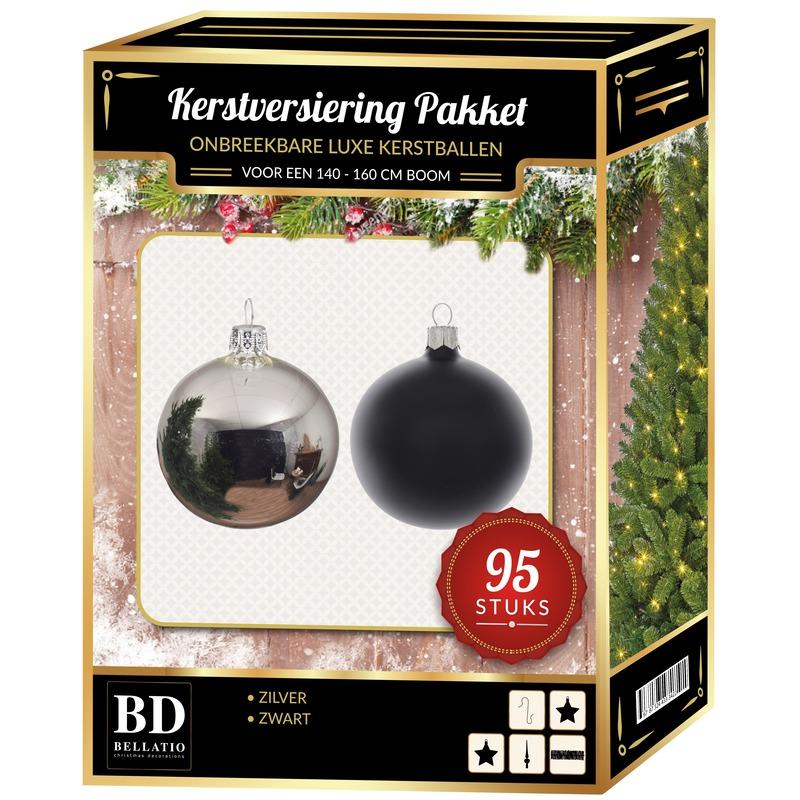95 stuks Kerstballen mix zilver-zwart voor 150 cm boom