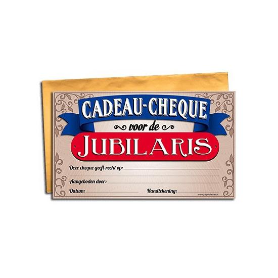 Cadeau cheque jubilaris 20 x 34 cm Cadeau /feest-artikelen/feestartikelen-algemeen/kado-cheques