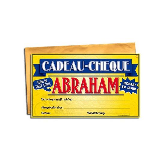 Cadeau cheque voor de Abraham 20 x 34 cm Cadeau /feest-artikelen/feestartikelen-algemeen/kado-cheques