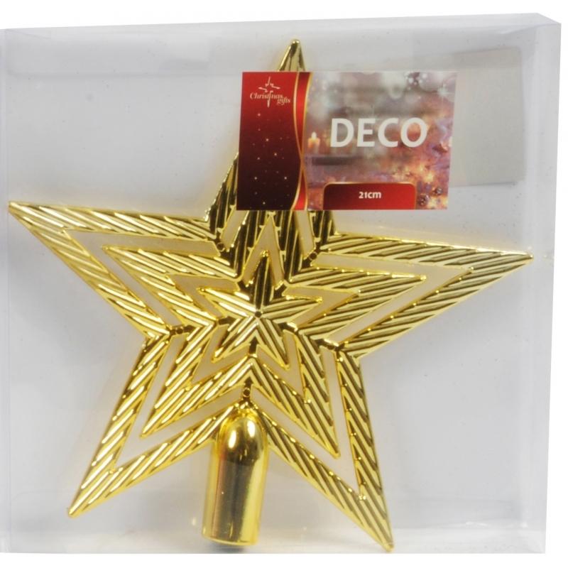 Gouden kerstboom piek ster 21 cm