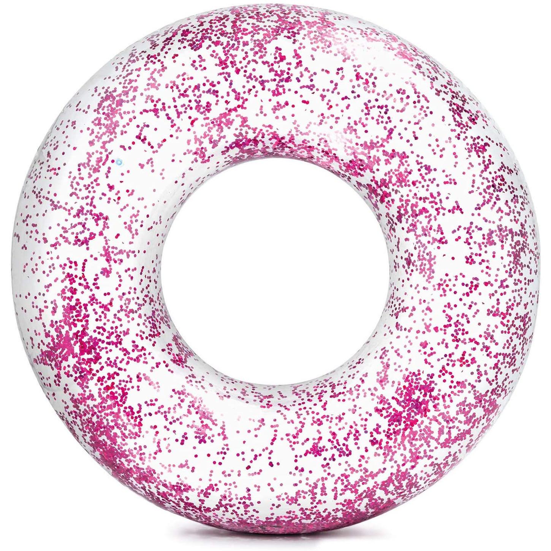 Intex opblaasbare roze glitter zwemband-zwemring transparant 120 cm