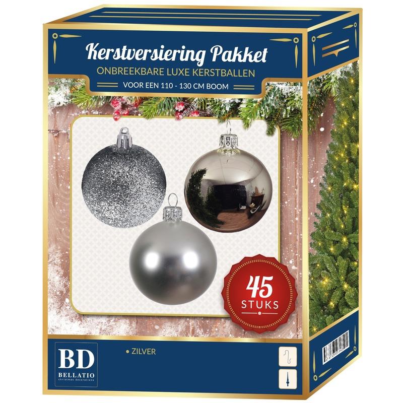 Kerstbal en ster piek set 45x zilver voor 120 cm boom