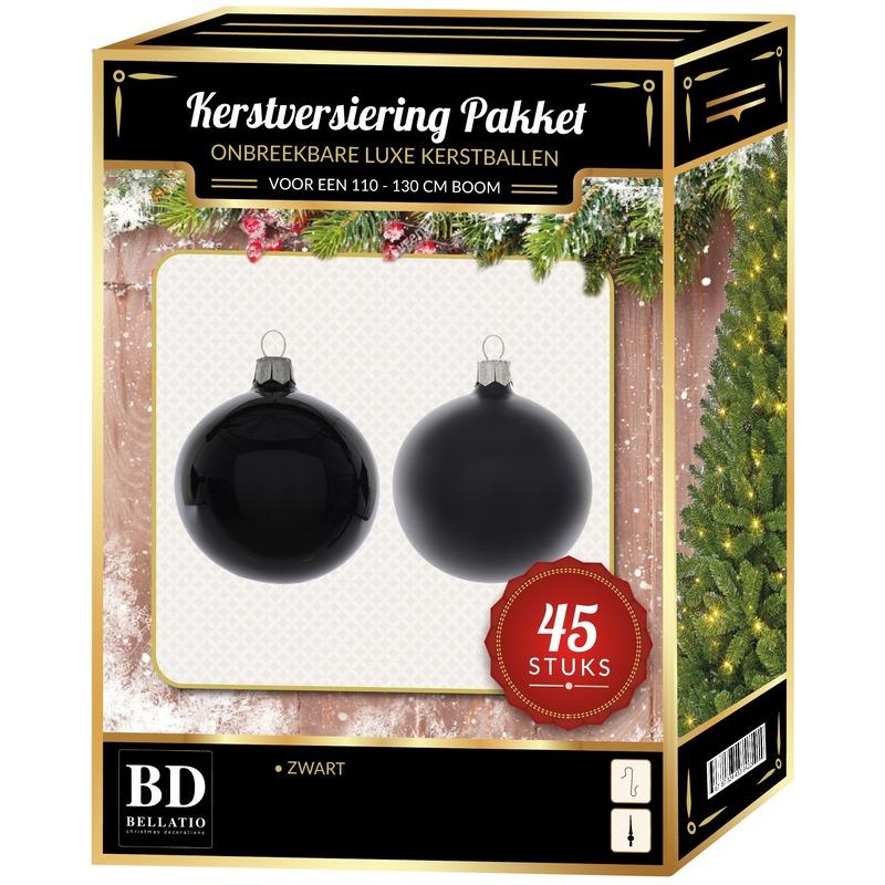 Kerstbal en ster piek set 45x zwart voor 120 cm boom
