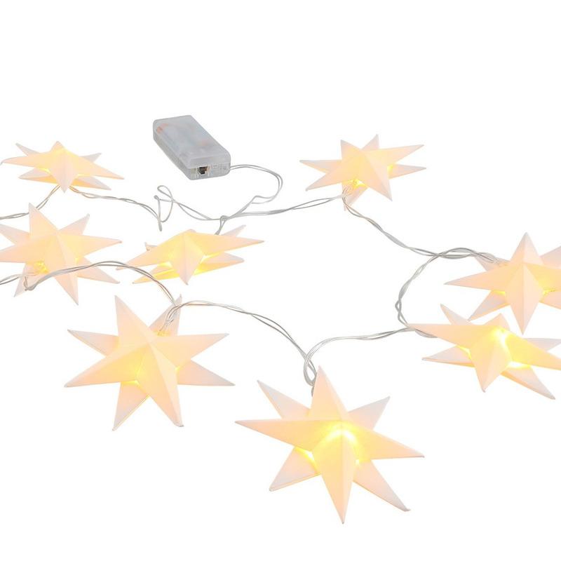 Kerstverlichting lichtsnoer met 10 witte sterren op batterijen