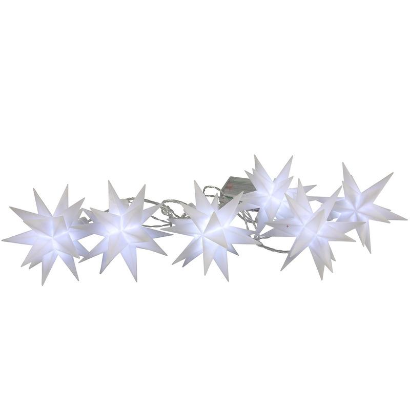 Kerstverlichting lichtsnoer met 6 witte sterren op batterijen