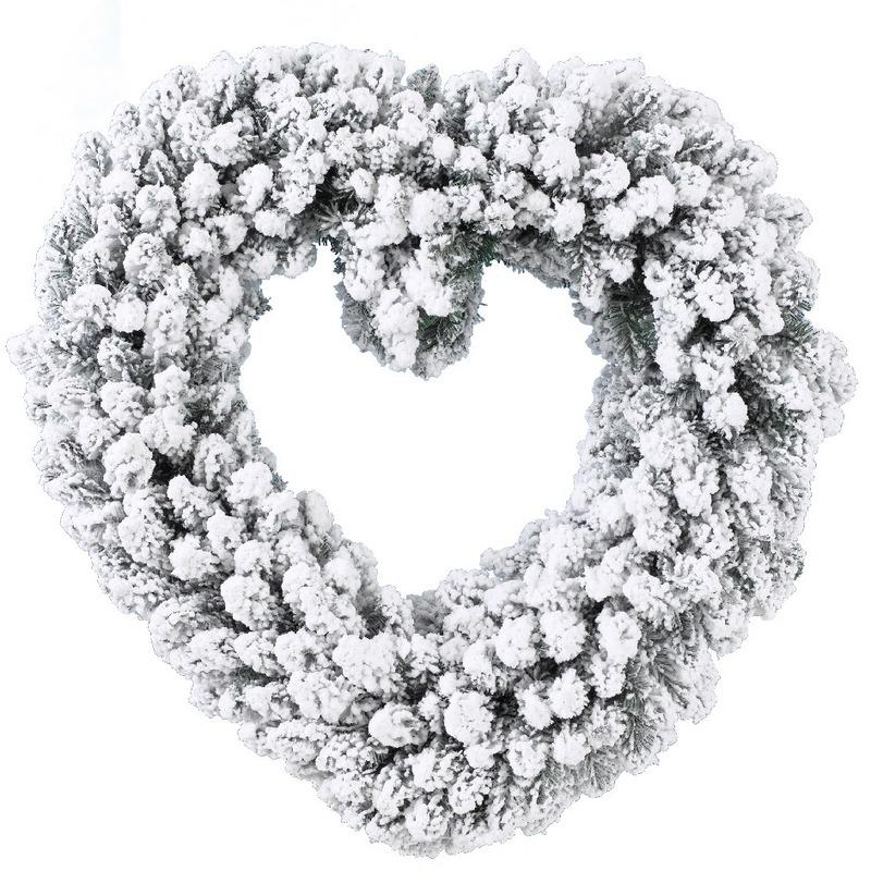 Kerstversiering kerstkrans hart met sneeuw deco 50 cm