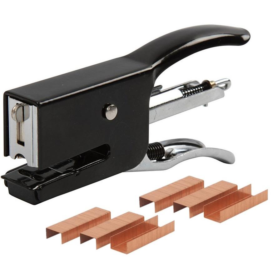 Metalen kantoor nietmachine-niettang klein 10 cm inclusief 2000 nietjes