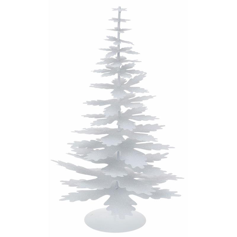 Metalen kerstboom glitter wit 35 cm