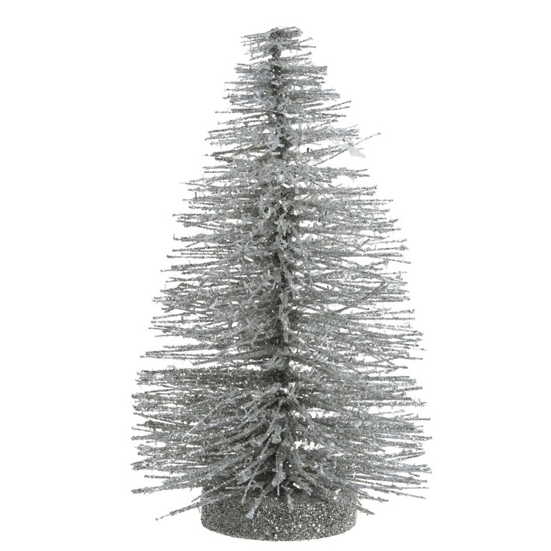 Mini glitter kunstkerstboom zilver 30 cm