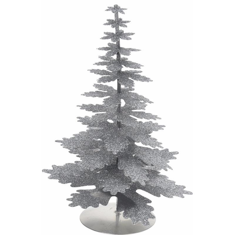 Mini Kerstboom glitter zilver 22 cm