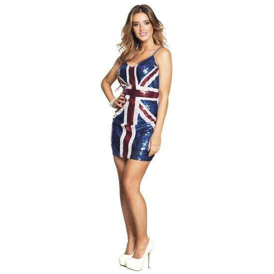 Pailletten verkleed jurkje Engeland-Union Jack vlag voor dames
