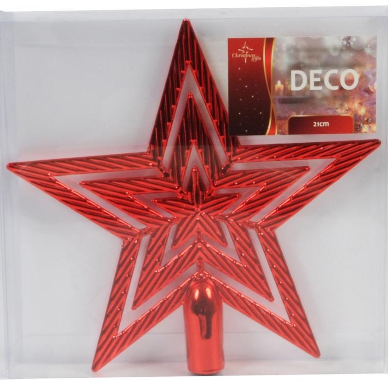 Rode kerstboom piek ster 21 cm